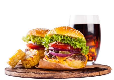 Big hamburgers isolated on white background
