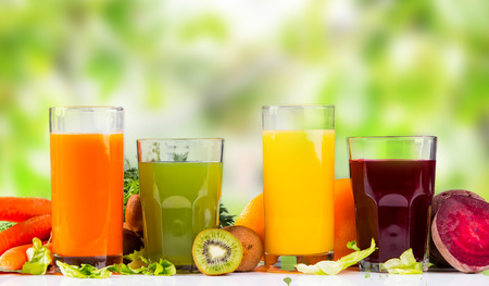 Fresh juice, mix fruits and vegetable Stock Photo