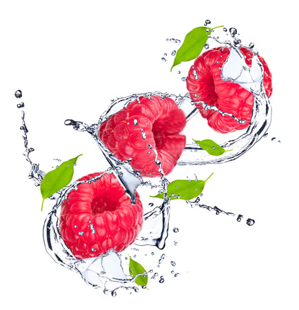 Water splash with raspberry and leaf Stock Photo
