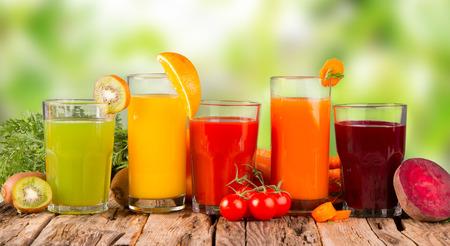 fruit juice: Fresh juice, mix fruits and vegetable Stock Photo