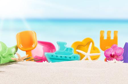 Summer children sand cake, summer concept Stock Photo