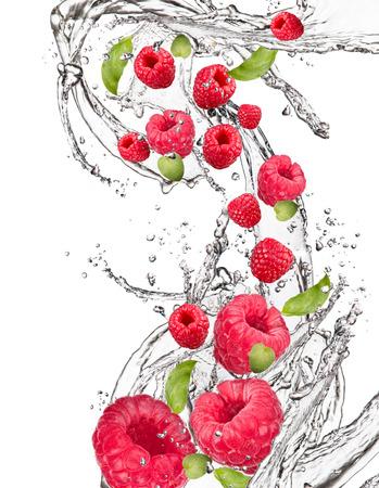 fruit in water: Fresh fruit in water splash, berry in motion, falling fruit in water