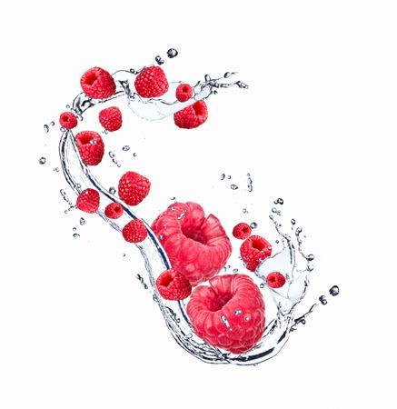 Fresh fruit in water splash, berry in motion, falling fruit in water