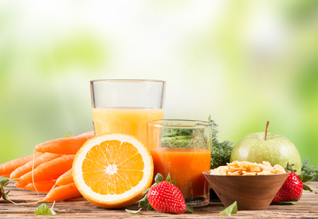 raw vegetables: Fresh juice orange, Healthy drink on wood, breakfast concept, Nature fruits and vegetable