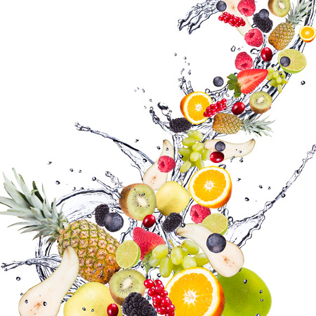 abstract fruit: Fresh fruits falling in water splash, isolated on white background