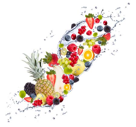 Fresh fruits falling in water splash, isolated on white background