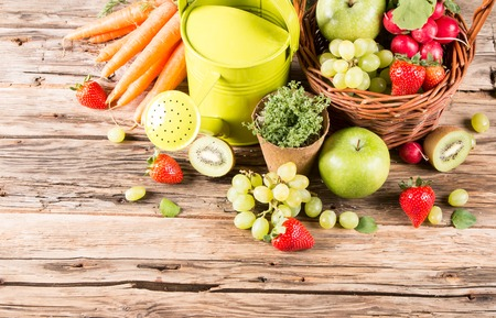 juice fresh vegetables: fresh fruits and vegetables on wooden table