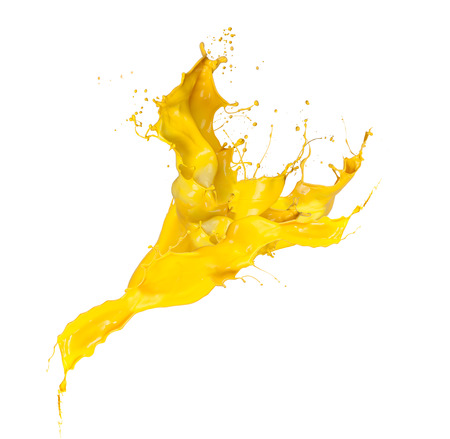 flowing: Shot of yellow paint splash isolated on white background