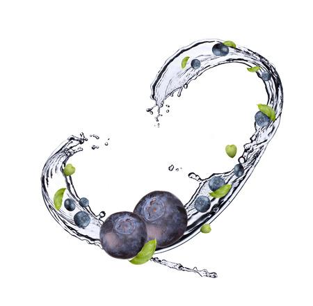 Fresh fruit in water splash, berry in motion, falling fruit in water photo