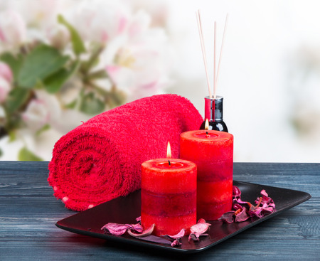 blosom: spa massage setting, rose product Stock Photo