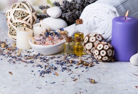spa massage setting, lavender product, oil Stock Photo