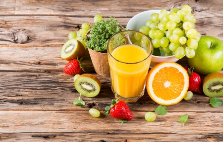 natural health: Fresh juice orange, Healthy drink on wood, breakfast concept, Nature fruits and vegetable