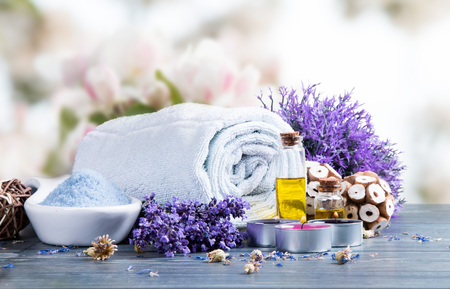 natural therapy: Spa concept still life with aromatic candles and flower