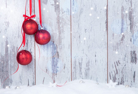december: Christmas decoration Holiday background with wood