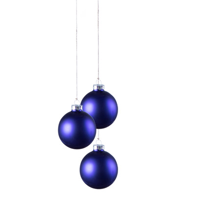 glass ornament: Bright blue Christmas balls with curly ribbons isolated on the white background