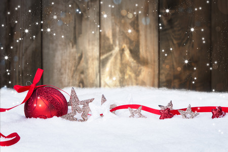 Christmas decoration Holiday background with wood