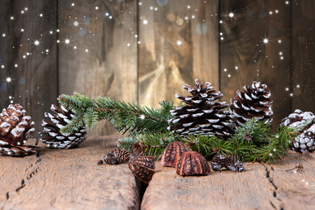 country christmas: Christmas decoration on dark wooden background Stock Photo
