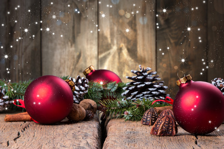 Christmas decoration on dark wooden background Stock Photo