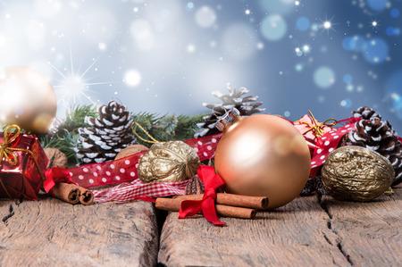 Christmas decoration, ball on dark wooden background