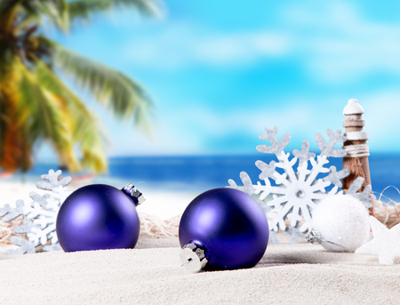 sea animals: Christmas ornament on a beach, concept of a warm, tropical weather Christmas Stock Photo