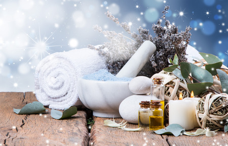 spa concept, wellness objects on wood plant, christmas background. Present holiday concept.