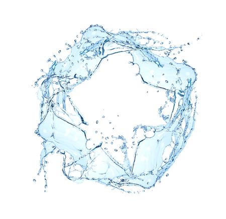 blue water splash ring isolated on white background