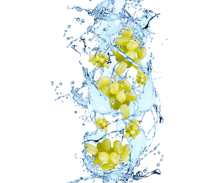 white grape: Grape in water splash, isolated on white background
