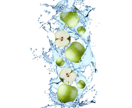 fruit water: apple with water splash, isolated on white background