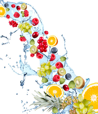 Fresh fruits falling in water splash, isolated on white background Reklamní fotografie - 48837728
