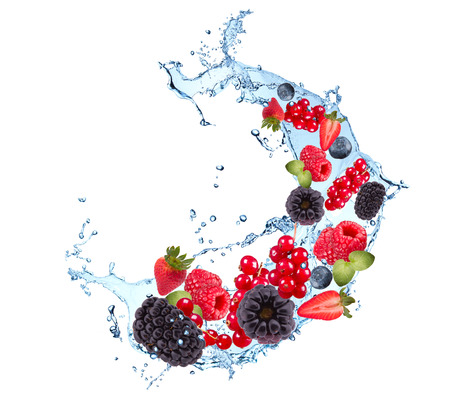 splash abstract: Fresh fruits, berries falling in water splash, isolated on white background
