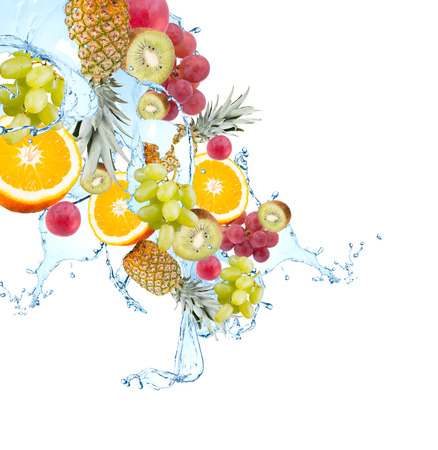 cranberry fruit: Fresh fruits falling in water splash, isolated on white background