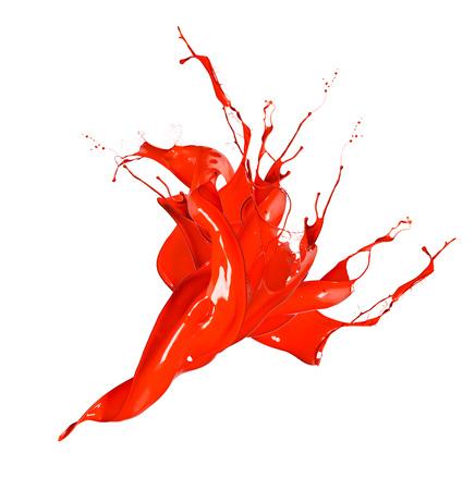 Shot of red paint splash isolated on white background