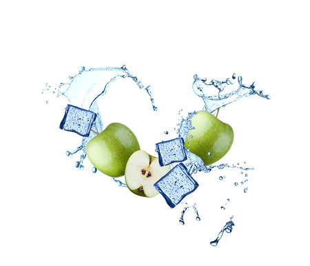 falling cubes: Water splash with fruits and ice cube isolated on white background. Fresh apple