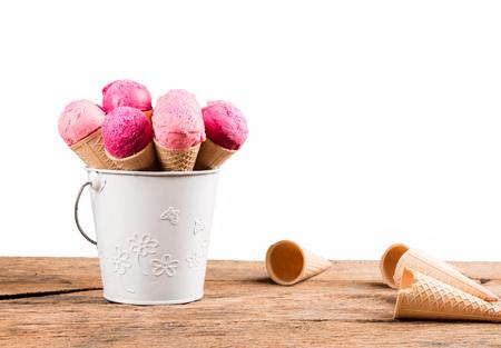 Frozen Ice-cream. Strawberry ice creams in cone