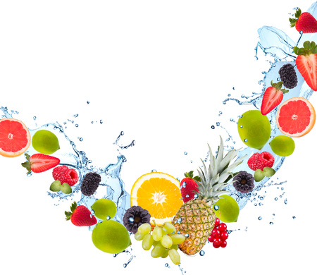 fruit water: Fresh fruits falling in water splash, isolated on white background