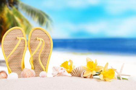 flops: Summer concept of sandy beach, flip flops and starfish. Stock Photo