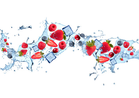 alimentos congelados: Water splash with fruits isolated on white backgroud. Fresh berries