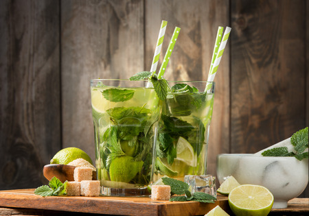 Lime Mojito drink on wooden background