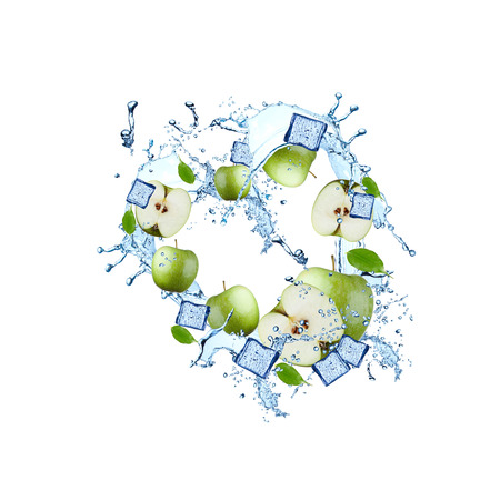 Water splash with green apple isolated on white background. Abstract object with fresh fruits.