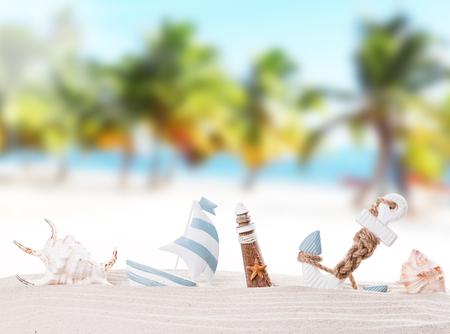 Summer decorations on sandy beach Reklamní fotografie