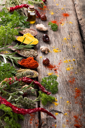 Herbs and spices with nature mint and thyme on wooden table. Kitchen concept.