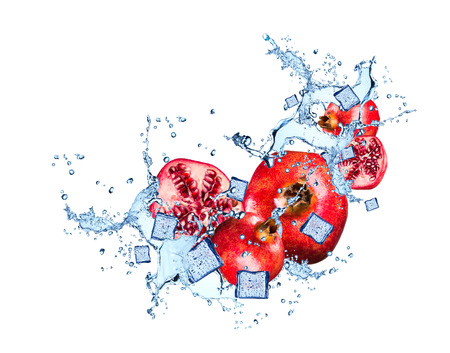 Water splash with pomegranate isolated on white background Stok Fotoğraf