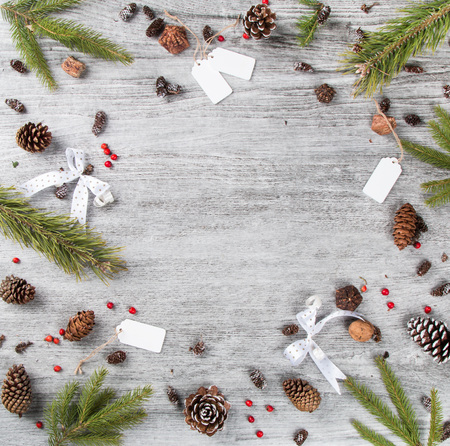Christmas composition,  Christmas decoration, ribbot, pine cone, pine on wooden table, Flat lay, copy space, free space for text