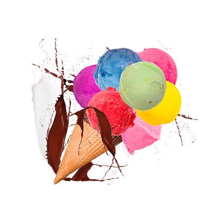 Ice cream splash Stock Photo