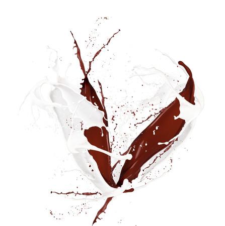 Milk and chocolate splash isolated on white Stock Photo