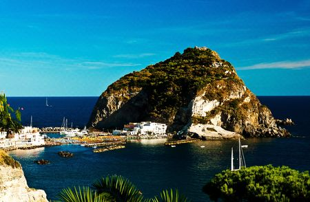 angelo: Panorama of the island of Ischia with special San Angelo small fishing port Stock Photo