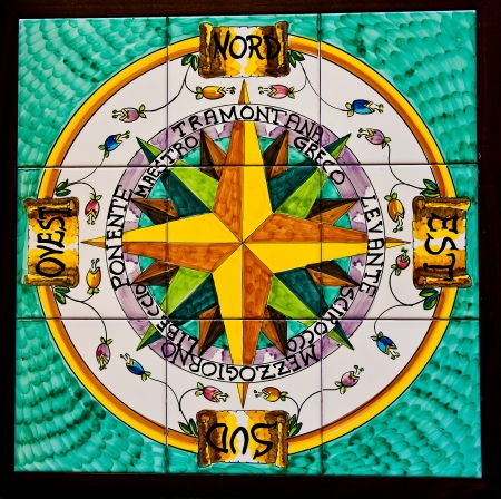 compass rose: tiles ceramics,compass rose,Vietri sul Mare Stock Photo