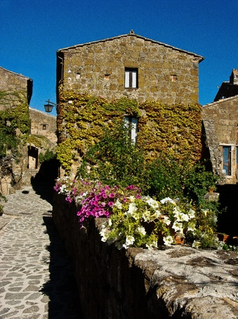 medioeval: Civita Bagnoregio particularly the inner city street with a house with flowers Stock Photo