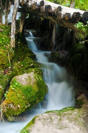 ka: Waterfall and bridge, plitvice,croatia,park Plitvička jezera