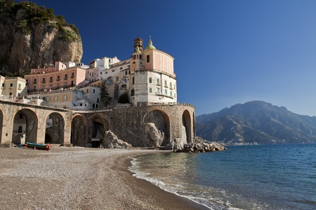 Atrani (SA), Italiaans vissersdorpje, landschap van het strand